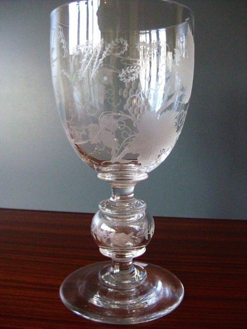 Victorian Glass Goblet With Silver 3d In Stem