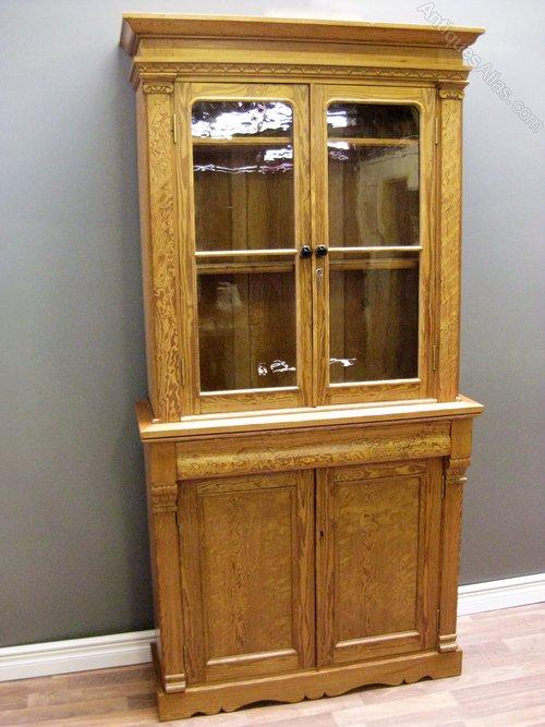 Victorian Pitch Pine Bookcase Cupboard