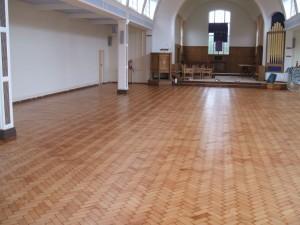 Pine block floor